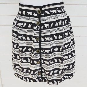 Black and White Cat Mini Skirt